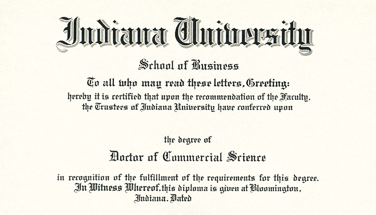 First doctoral degree, the Doctor of Commercial Science, awarded.