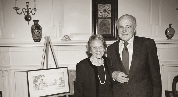 School named the Kelley School of Business in honor of E. W. Kelley, BS'39 (pictured here with his wife, Wilma).